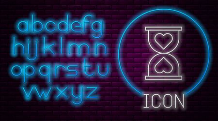 Glowing neon line Heart in the center old hourglass icon isolated on brick wall background. Valentines day. Neon light alphabet. Vector Illustration 向量圖像