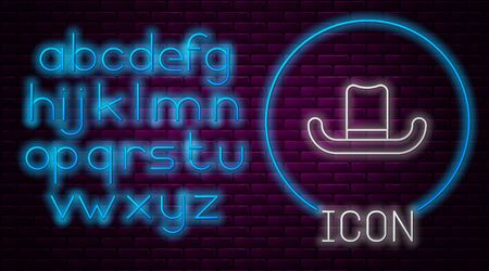 Glowing neon line Man hat with ribbon icon isolated on brick wall background. Neon light alphabet. Vector Illustration