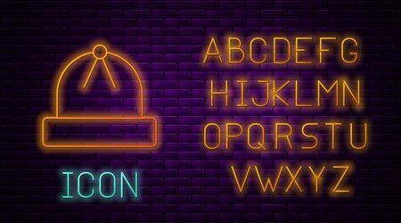 Glowing neon line Winter hat icon isolated on brick wall background. Neon light alphabet. Vector Illustration 일러스트