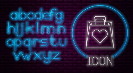 Glowing neon line Shopping bag with heart icon isolated on brick wall background. Shopping bag shop love like heart icon. Valentines day symbol. Neon light alphabet. Vector Illustration