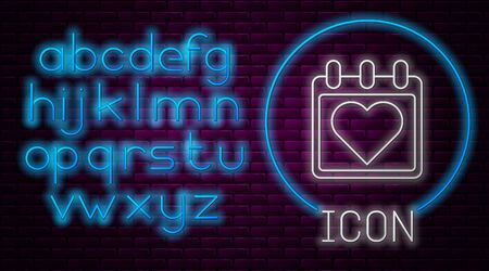 Glowing neon line Calendar with heart icon isolated on brick wall background. Valentines day. Love symbol. February 14. Neon light alphabet. Vector Illustration Illusztráció