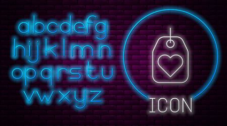 Glowing neon line Heart tag icon isolated on brick wall background. Love symbol. Valentine day symbol. Neon light alphabet. Vector Illustration Illusztráció