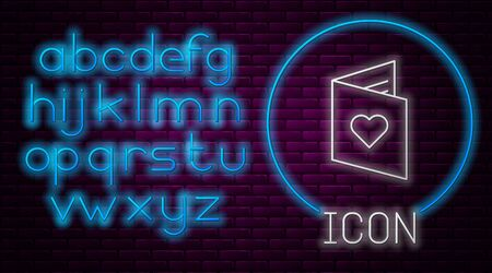 Glowing neon line Valentines day flyer with heart icon isolated on brick wall background. Celebration poster template for invitation or greeting card. Neon light alphabet. Vector Illustration Illusztráció
