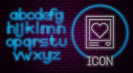 Glowing neon line Blanks photo frames and hearts icon isolated on brick wall background. Valentines Day symbol. Neon light alphabet. Vector Illustration Illusztráció