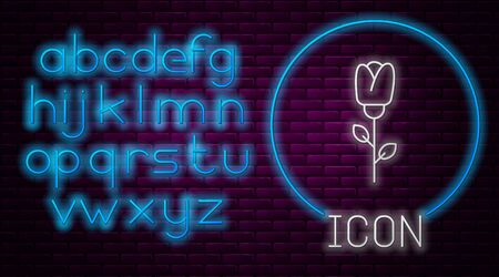 Glowing neon line Flower rose icon isolated on brick wall background. Neon light alphabet. Vector Illustration