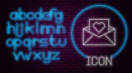 Glowing neon line Envelope with Valentine heart icon isolated on brick wall background. Message love. Letter love and romance. Neon light alphabet. Vector Illustration