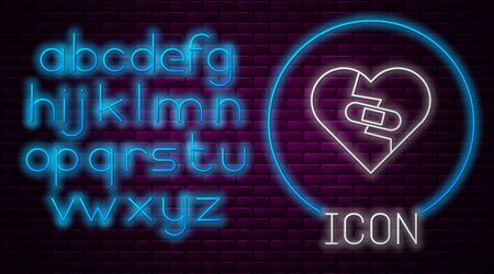 Glowing neon line Healed broken heart or divorce icon isolated on brick wall background. Shattered and patched heart. Love symbol. Valentines day. Neon light alphabet. Vector Illustration