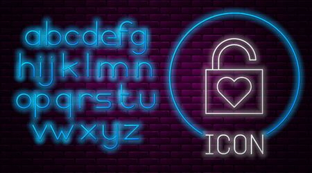 Glowing neon line Lock and heart icon isolated on brick wall background. Locked Heart. Love symbol and keyhole sign. Valentines day symbol. Neon light alphabet. Vector Illustration Illusztráció