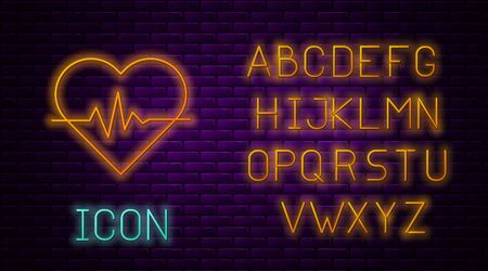 Glowing neon line Heart rate icon isolated on brick wall background. Heartbeat sign. Heart pulse icon. Cardiogram icon. Neon light alphabet. Vector Illustration Illusztráció