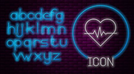 Glowing neon line Heart rate icon isolated on brick wall background. Heartbeat sign. Heart pulse icon. Cardiogram icon. Neon light alphabet. Vector Illustration Ilustrace
