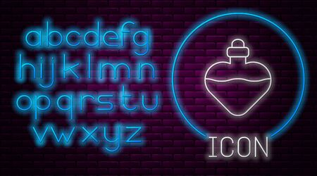 Glowing neon line Bottle with love potion icon isolated on brick wall background. Valentines day symbol. Neon light alphabet. Vector Illustration
