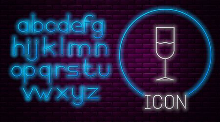 Glowing neon line Wine glass icon isolated on brick wall background. Wineglass icon. Goblet symbol. Glassware sign. Neon light alphabet. Vector Illustration Illusztráció