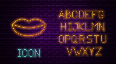 Glowing neon line Smiling lips icon isolated on brick wall background. Smile symbol. Neon light alphabet. Vector Illustration Illusztráció