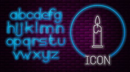 Glowing neon line Burning candle in candlestick icon isolated on brick wall background. Cylindrical candle stick with burning flame. Neon light alphabet. Vector Illustration Illusztráció