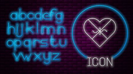 Glowing neon line Candy in heart shaped box and bow icon isolated on brick wall background. Valentines Day. Neon light alphabet. Vector Illustration