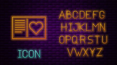 Glowing neon line Valentines day flyer with heart icon isolated on brick wall background. Celebration poster template for invitation or greeting card. Neon light alphabet. Vector Illustration Ilustracja
