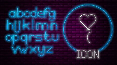 Glowing neon line Balloons in form of heart with ribbon icon isolated on brick wall background. Valentines day symbol. Neon light alphabet. Vector Illustration