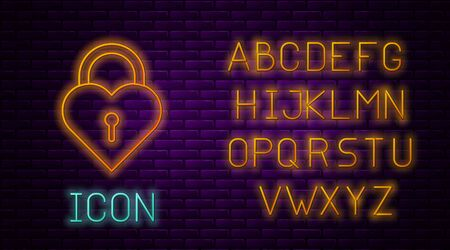 Glowing neon line Castle in the shape of a heart icon isolated on brick wall background. Locked Heart. Love symbol and keyhole sign. Neon light alphabet. Vector Illustration