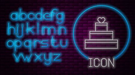 Glowing neon line Wedding cake with heart icon isolated on brick wall background. Valentines day symbol. Neon light alphabet. Vector Illustration