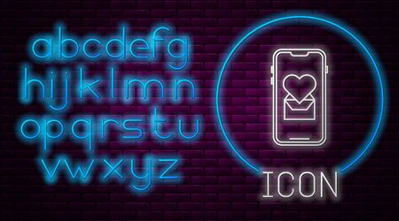 Glowing neon line Mobile phone with heart icon isolated on brick wall background. Valentines day. Neon light alphabet. Vector Illustration