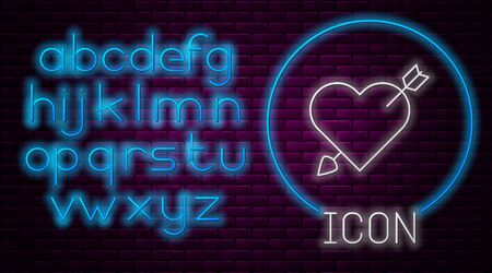 Glowing neon line Amour symbol with heart and arrow icon isolated on brick wall background. Love sign. Valentines symbol. Neon light alphabet. Vector Illustration