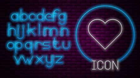 Glowing neon line Heart icon isolated on brick wall background. Romantic symbol linked, join, passion and wedding. Valentine day symbol. Neon light alphabet. Vector Illustration