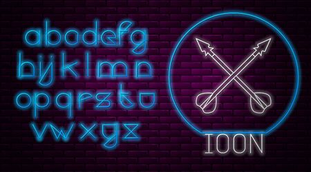 Glowing neon line Medieval crossed arrows icon isolated on brick wall background. Medieval weapon. Neon light alphabet. Vector Illustration
