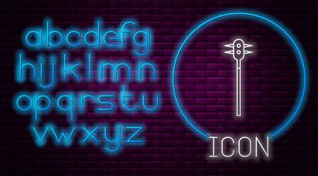 Glowing neon line Medieval chained mace ball icon isolated on brick wall background. Medieval weapon. Neon light alphabet. Vector Illustration