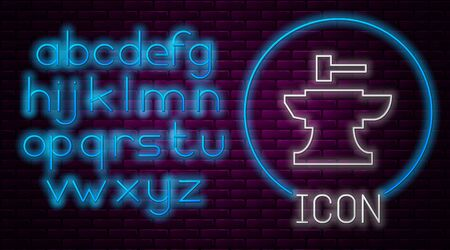 Glowing neon line Anvil for blacksmithing and hammer icon isolated on brick wall background. Metal forging. Forge tool. Neon light alphabet. Vector Illustration Illusztráció
