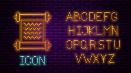 Glowing neon line Decree, paper, parchment, scroll icon icon isolated on brick wall background. Neon light alphabet. Vector Illustration