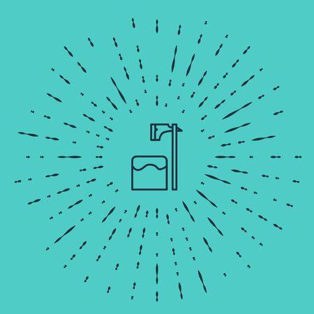 Black line Executioner axe in tree block icon isolated on green background. Hangman, torturer, executor, tormentor, butcher, headsman. Abstract circle random dots. Vector Illustration Иллюстрация