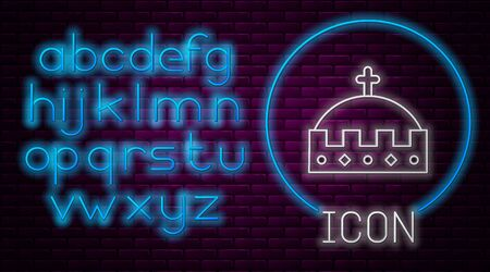 Glowing neon line King crown icon isolated on brick wall background. Neon light alphabet. Vector Illustration