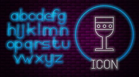 Glowing neon line Medieval goblet icon isolated on brick wall background. Neon light alphabet. Vector Illustration