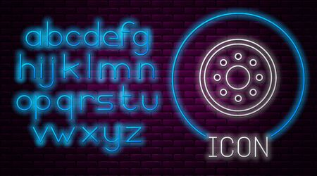 Glowing neon line Round wooden shield icon isolated on brick wall background. Security, safety, protection, privacy, guard concept. Neon light alphabet. Vector Illustration Ilustracja