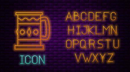 Glowing neon line Wooden mug icon isolated on brick wall background. Neon light alphabet. Vector Illustration Ilustracja
