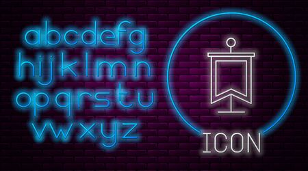 Glowing neon line Medieval flag icon isolated on brick wall background. Country, state, or territory ruled by a king or queen. Neon light alphabet. Vector Illustration 矢量图像