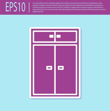 Retro purple Wardrobe icon isolated on turquoise background. Vector Illustration Ilustração