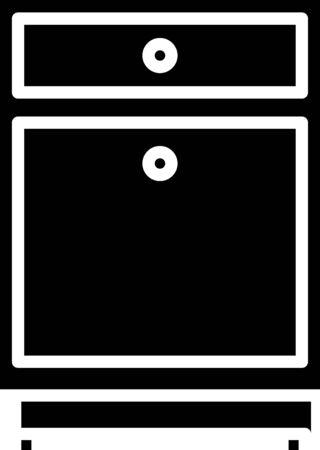 Black Furniture nightstand icon isolated on white background. Vector Illustration Ilustração