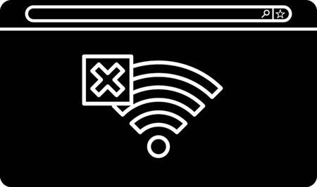 Negro No hay icono de conexión a Internet aislado sobre fondo blanco. No hay wifi inalámbrico ni señal para acceso remoto a Internet. Ilustración vectorial