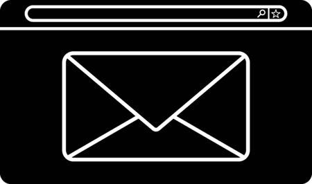 Black Mail and e-mail icon isolated on white background. Envelope symbol e-mail. Email message sign. Vector Illustration