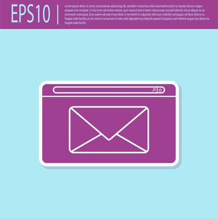 Retro purple Mail and e-mail icon isolated on turquoise background. Envelope symbol e-mail. Email message sign. Vector Illustration 일러스트