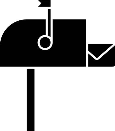 Black Open mail box icon isolated on white background. Mailbox icon. Mail postbox on pole with flag. Vector Illustration