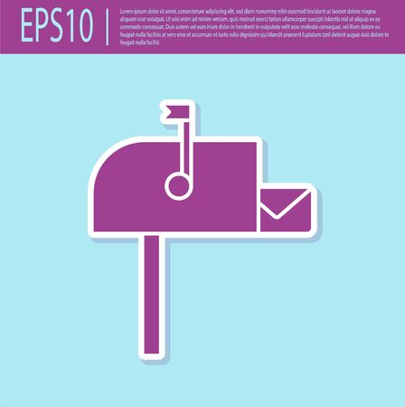 Retro purple Open mail box icon isolated on turquoise background. Mailbox icon. Mail postbox on pole with flag. Vector Illustration
