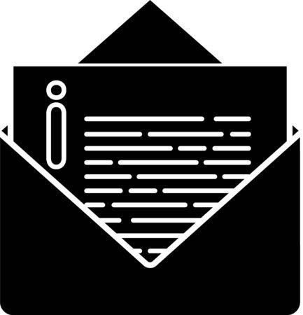Black Envelope icon isolated on white background. Email message letter symbol. Vector Illustration