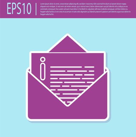 Retro purple Envelope icon isolated on turquoise background. Email message letter symbol. Vector Illustration 일러스트