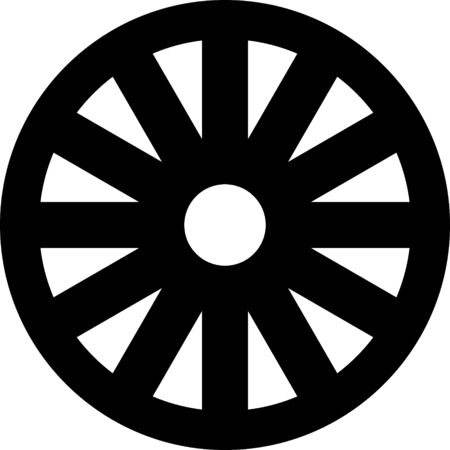 Black Old wooden wheel icon isolated on white background. Vector Illustration Ilustração