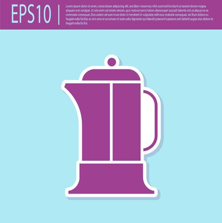 Retro purple French press icon isolated on turquoise background. Vector Illustration Vectores