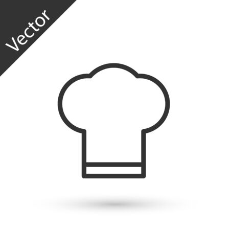 Grey line Chef hat icon isolated on white background. Cooking symbol. Cooks hat. Vector Illustration