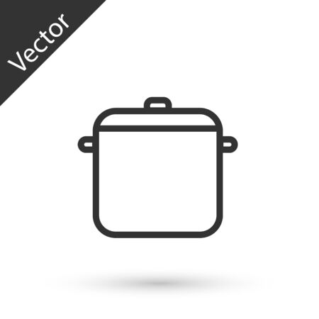 Grey line Cooking pot icon isolated on white background. Boil or stew food symbol. Vector Illustration
