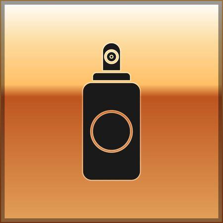 Bombe aérosol noire pour assainisseur d'air, laque, déodorant, icône anti-transpirante isolée sur fond doré. Illustration vectorielle Vecteurs